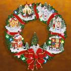 Snowman Village Lighted Wreath Figurine by Lenox