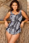 Beach Belle Abstract Animal Sarong Front Swimsuit