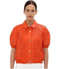 Versace Jeans Eyelet Cropped Leather Jacket