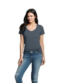 Women's Essential Slub Short-Sleeve V-Neck T-S