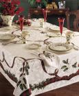Lenox Holiday Nouveau Jacquard Damask Table Linen