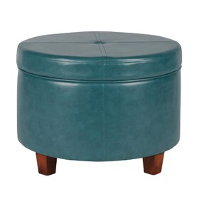 Homepop Large Faux Leather Round Storage Ottoman -