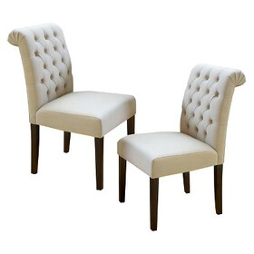 Dinah Roll Top Fabric Dining Chair Wood (Set of 2)