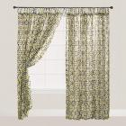 Green and Black Geo Crinkle Voile Tie Top Curtains