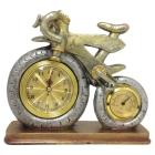 Bicycle Clock with Thermometer Silver/Brass - Crea