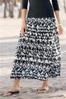 Black And White Ikat Print Maxi Skirt