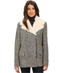 Kenneth Cole New York Novelty Wool Coat with Faux