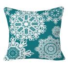 Deep Turquoise Flurries Throw Pillow (20\