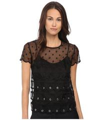 RED VALENTINO Silk Organza Tulle w/ Eyelet and Pol