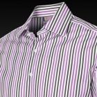 White & Pink Wilde Stripe Slim Fit Men's Shirt - D