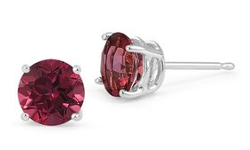Sterling Silver 1 Carat Ruby Cubic Zirconia Round