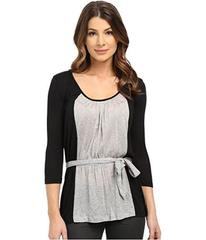 Three Dots Lauren 3/4 Sleeve Belted Blouse