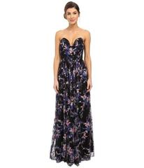 Nicole Miller Embroidered Flowers Strapless Plunge