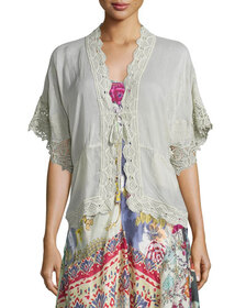 Johnny Was Reedy Lace-Trim Wrap Jacket, Gray Whisp