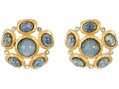 Kenneth Jay Lane Satin Gold/Crystal/Blue Opal Cabs