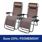 2 Chairs Zero Gravity Chair Recliner Utility Tray