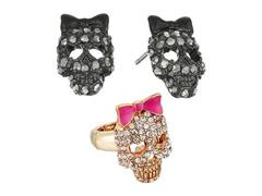 Betsey Johnson Skull Stud Earrings and Stretch Rin