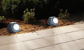 Pure Garden Solar Rock Landscaping Lights (Set of