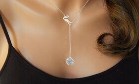 Sterling Silver Love Y Necklace Made with Swarovsk