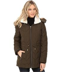 Kenneth Cole New York Quilted Chevron Coat with Fu