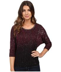 XOXO Ombre Sequin Pullover with Chain Neck