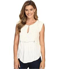 Lucky Brand Mixed Fabric Shell Top