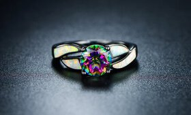Genuine Topaz and Fiery White Opal Ring