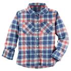 Crinkle Plaid Button-Front Top