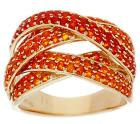 Pave' Mexican Fire Opal Multi-Row Ring 14K Gold 1.