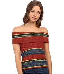Free People Carly Cowl Off the Shoulder Stripe Swe