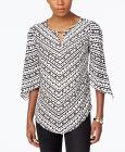 JM Collection Printed Angel-Sleeve Top, Only at Ma