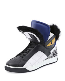Fendi Monster Fur-Trimmed High-Top Sneaker