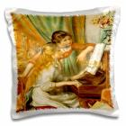 3dRose Renoirs Girls At Piano, Pillow Case, 16 by