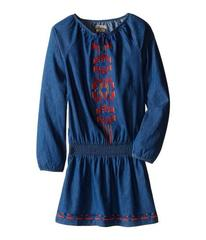 Lucky Brand Chambray Peasant Dress with Embroidery