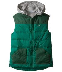 Lacoste Flannel Lined Padded Vest with Attached Ho