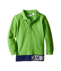 Moschino Long Sleeve Polo w/ Contrast Hem and Logo