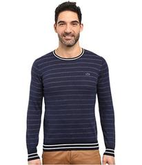 Lacoste Long Sleeve Double Face Chine Stripe Crew