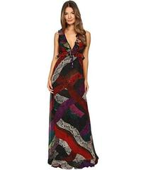Just Cavalli Long Cross Naif Print Ruffle Gown