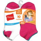 Hanes Girls' No Show Socks, Assorted Colors 10