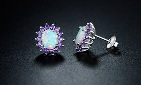 0.25 CTTW White Fire Opal and Amethyst Stud Earrin