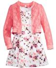 Beautees 3-Pc. Lace Bomber Jacket, Dress & Necklac