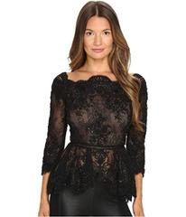 Marchesa Off the Shoulder Beaded Lace Peplum Top w
