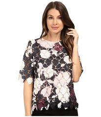 Vince Camuto Elbow Sleeve Chapel Rose Printed Lace