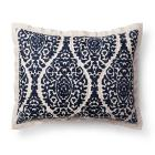 Blue Damask Linen Blend Printed Pillow Sham - Thre