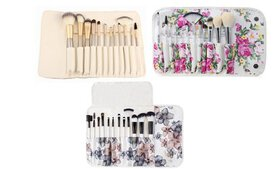 Professional Makeup Brush Set with Floral Pouch (1