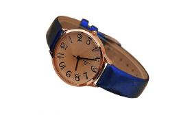 Stylish Blue Women's Faux Leather Strap Analog Dre