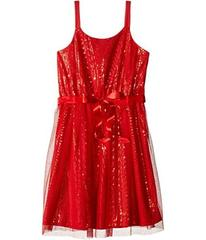 Us Angels Sequin Tank Sheath Dress w/ Netting Over