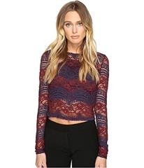 ROMEO & JULIET COUTURE Long Sleeve Crop Lace Top