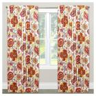 Window Curtain Panels Floral Red