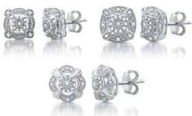 1/6 CTTW Diamond Vintage Style Studs in Sterling S